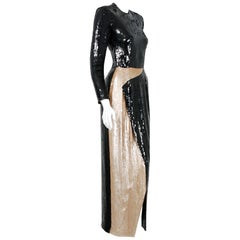 1993 Geoffrey Beene Documented Black & Gold Sequin Geometric Long-Sleeve Gown
