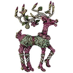 "Heidi Daus ""Dazzling Dancer"" Pave Crystal and Enamel Reindeer Pin, Brooch"