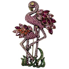 "Heidi Daus ""Shore Thing"" Pave Crystal Flamingo Pin Brooch"