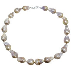 South Sea Baroque Pearl Necklace with Silver S Clasp, 45cm