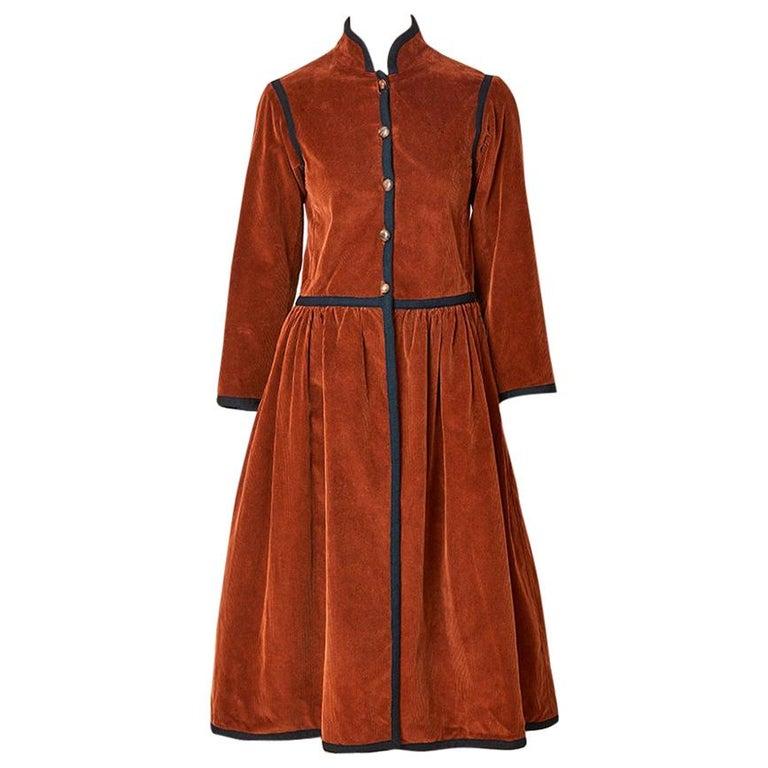 Yves Saint Laurent Russian Collection Corduroy Coat For Sale