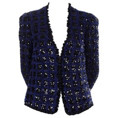 Adolfo Vintage Evening Jacket in Blue Chenille With Black Sequins