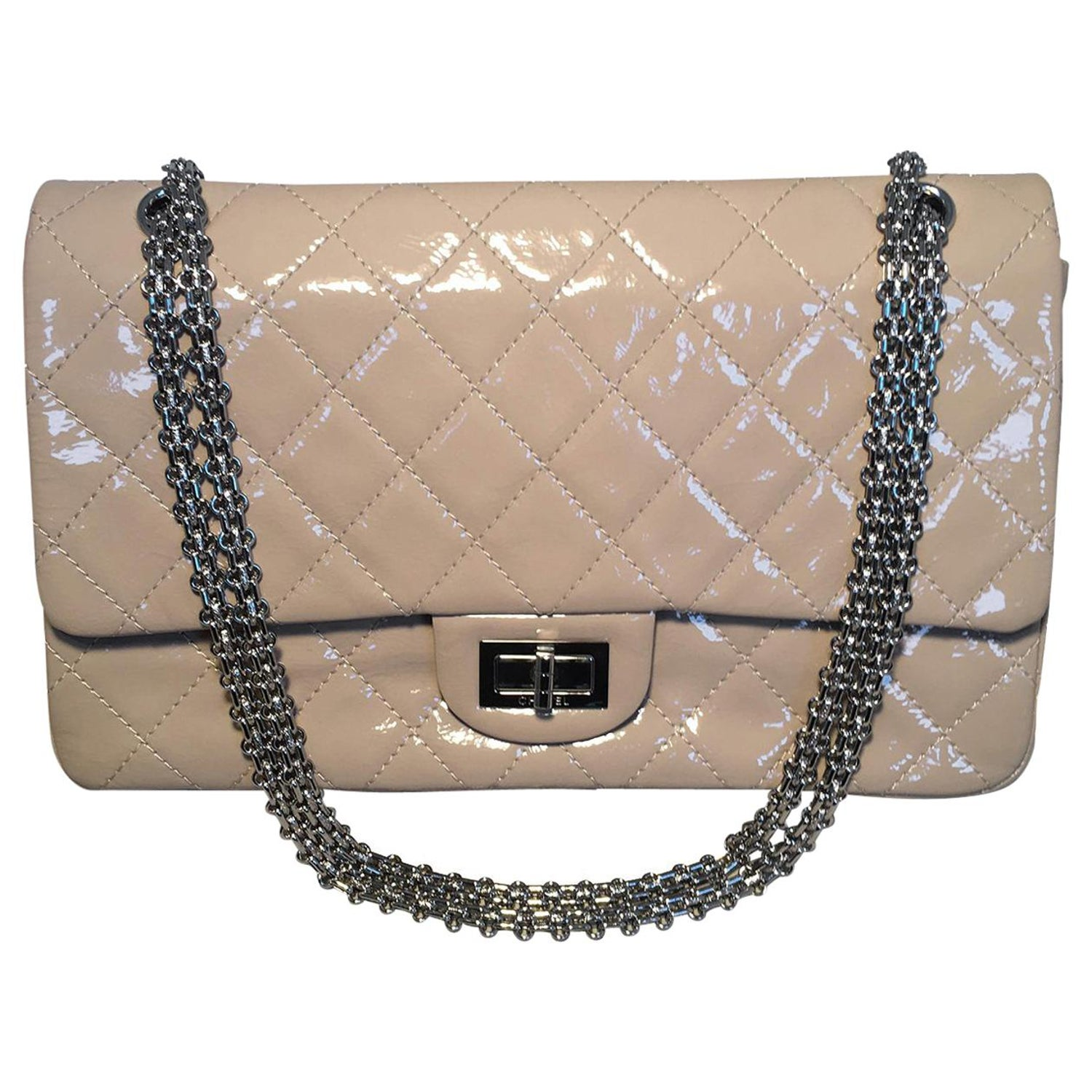 2ff0b2a0ccb194 Chanel Beige Distressed Patent 2.55 Reissue 227 Double Flap Classic For Sale  at 1stdibs