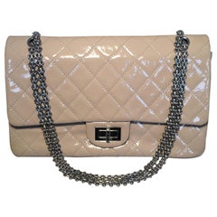 Chanel Beige Distressed Patent 2.55 Reissue 227 Double Flap Classic