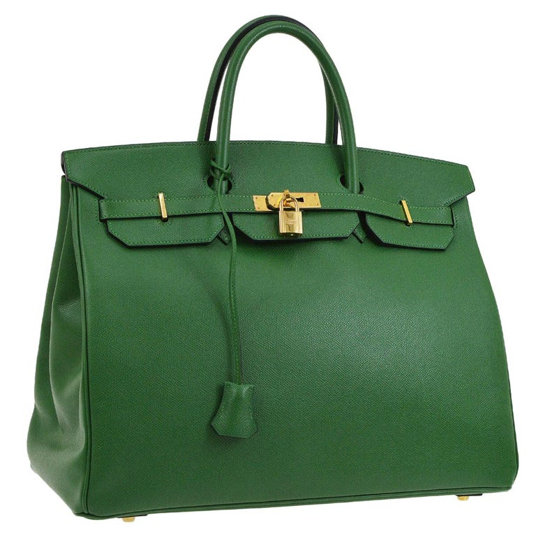 Hermes Birkin 40 Green Leather Gold Carryall Top Handle Satchel Tote For Sale
