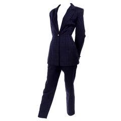 Escada Margaretha Ley Vintage Trouser & Jacket Pant Suit Textured Blue Cotton