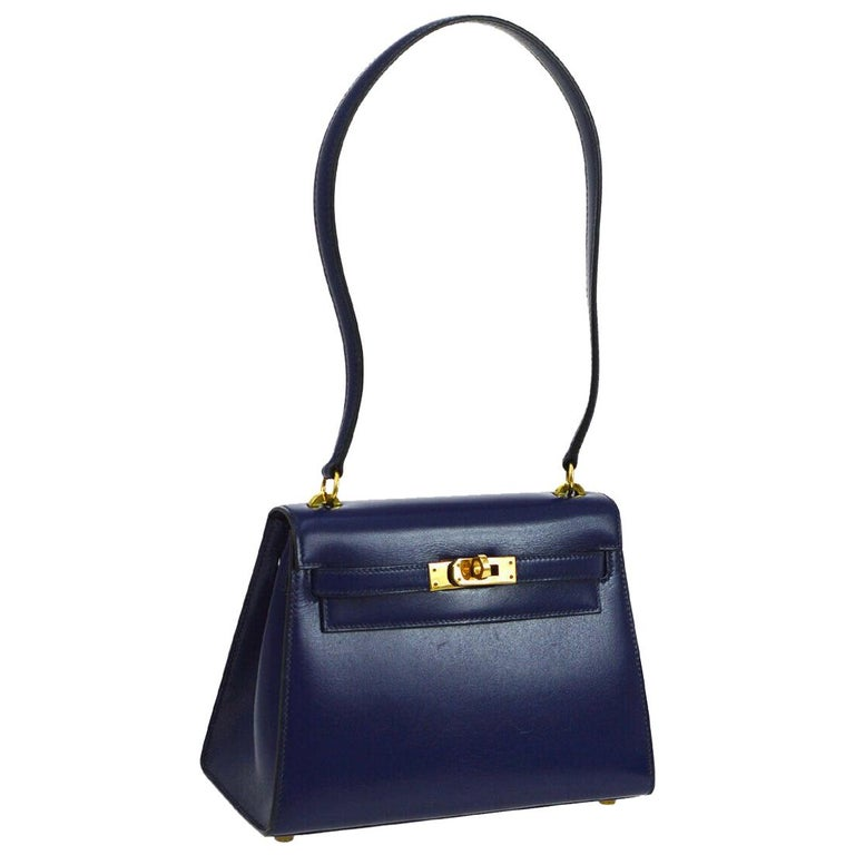 Hermes Kelly Blue Leather Gold Small Evening Shoulder Flap Bag in Box For Sale