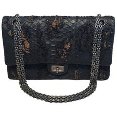 RARE Chanel Black Embroidered Python 2.55 Classic Flap Reissue 226