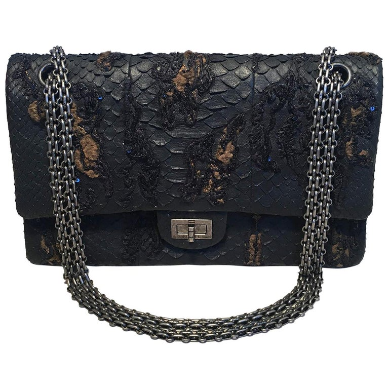 d1fc0c4f3935 RARE Chanel Black Embroidered Python 2.55 Classic Flap Reissue 226 For Sale