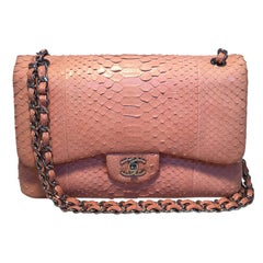 Chanel Peach Pink Python Jumbo 2.55 Double Flap Classic Shoulder Bag