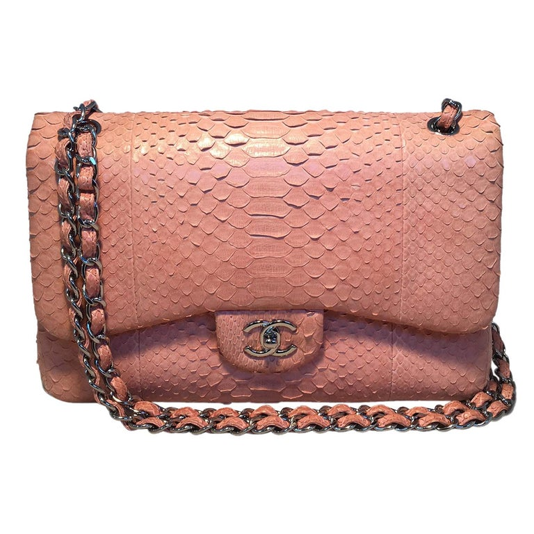 408d693ba7845d Chanel Peach Pink Python Jumbo 2.55 Double Flap Classic Shoulder Bag For  Sale