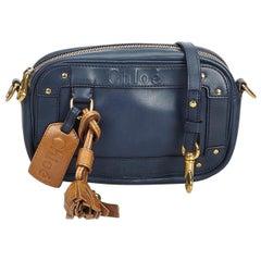 Chloe Blue Leather Eden Crossbody Bag