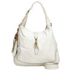Gucci White Leather New Jackie Bamboo Satchel
