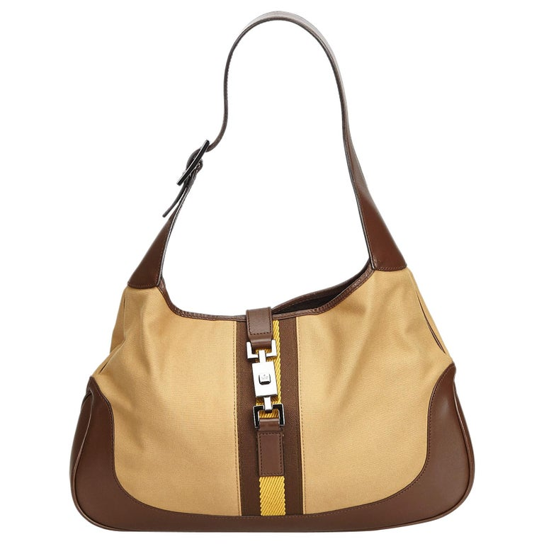 6cec070eaa7 Gucci Brown Jackie Canvas Shoulder Bag For Sale at 1stdibs