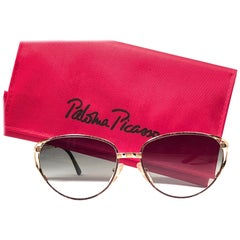 Vintage Paloma Picasso Triangle Details Gold Sunglasses Made in Germany 1980's