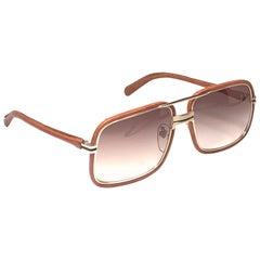 Vintage Rare Tura Canada Tan Leather 1970 Sunglasses