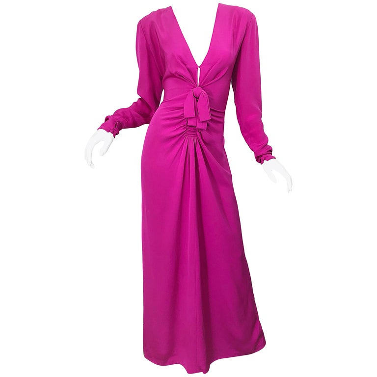 Vintage Bill Blass Size 10 Hot Pink Silk Jersey Cut - Out 1980s 80s Evening Gown For Sale