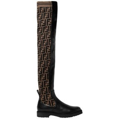 Fendi Logo Stretch-Knit and Leather Over-The-Knee Boots