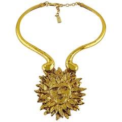 Yves Saint Laurent YSL Iconic Vintage Sun Face Chocker Necklace
