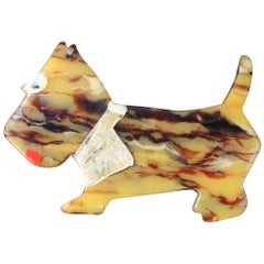 1930s Bakelite Scottie Dog Terrier Brooch Pin