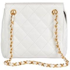 1991 Chanel White Quilted Caviar Leather Vintage Timeless Shoulder Bag