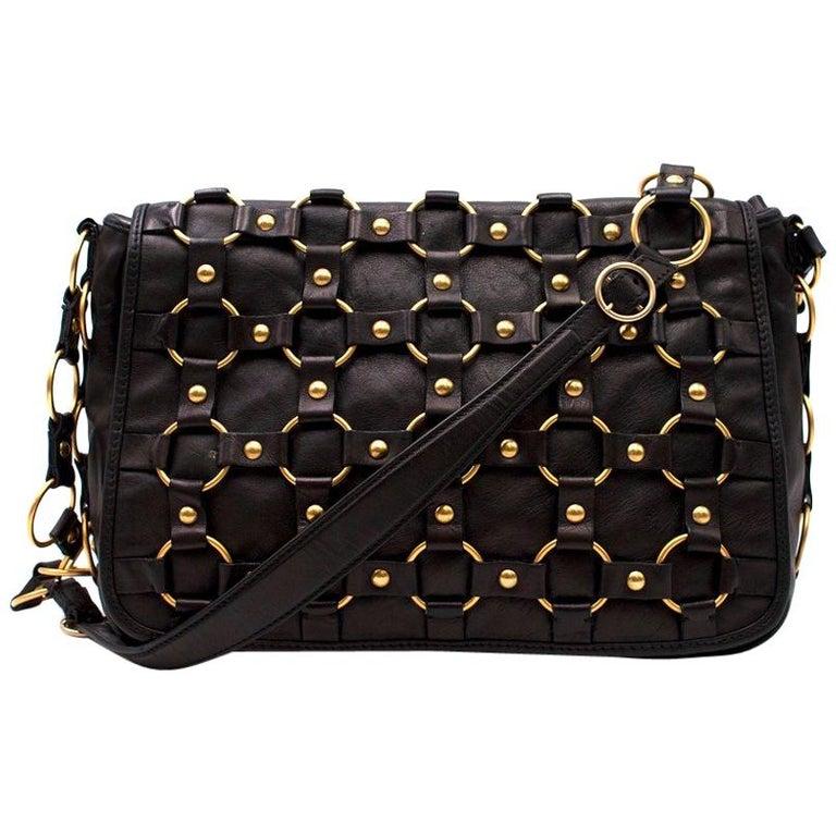 b997512973 Dior Vintage Black Leather Gold Ring Bag