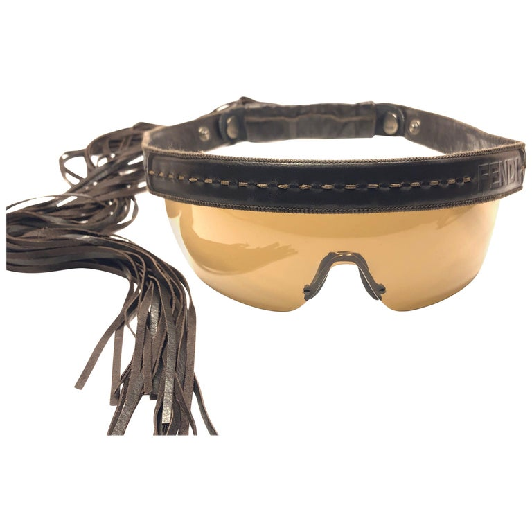 Vintage Fendi FS341 Limited Edition Leather Fringe Wrap Around 1990 Sunglasses For Sale