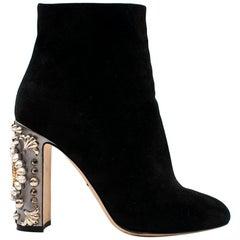 Dolce & Gabbana Black Suede Clock Embellished Heel Ankle Boots US 7.5
