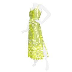 1960s Green Floral Handmade Silk Dress Size M