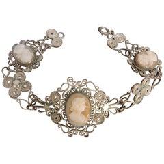 Vintage Italian Silver Filigree Cameo Bracelet