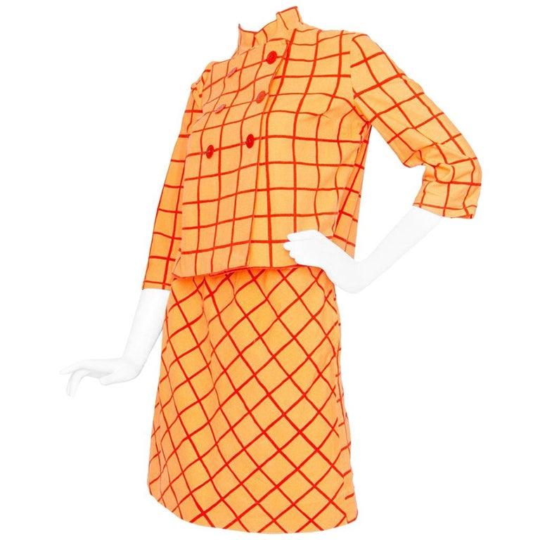 1960s Marimekko Cotton Color Block Ensemble XS For Sale