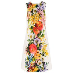 Dolce & Gabbana Floral Printed Brocade Shift Dress US 8