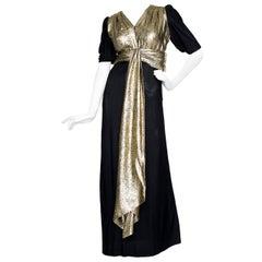 Yves Saint Laurent Black Silk and Gold Lamé Dress, 1970s