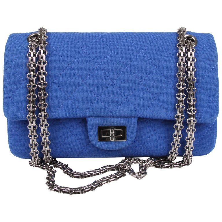 Chanel Jersey Quilted Reissue Bag - blue For Sale