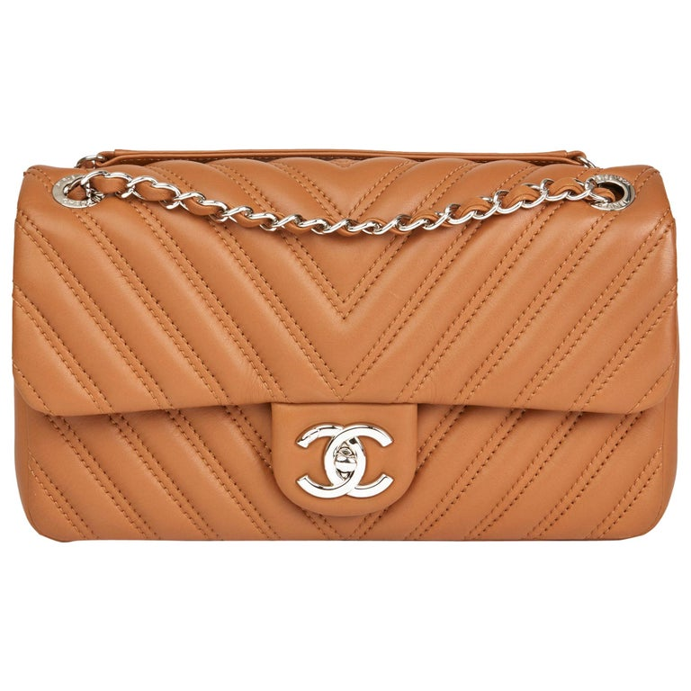 4b872483e8b018 Chanel Toffee Chevron Quilted Lambskin Clic Single Flap Bag For