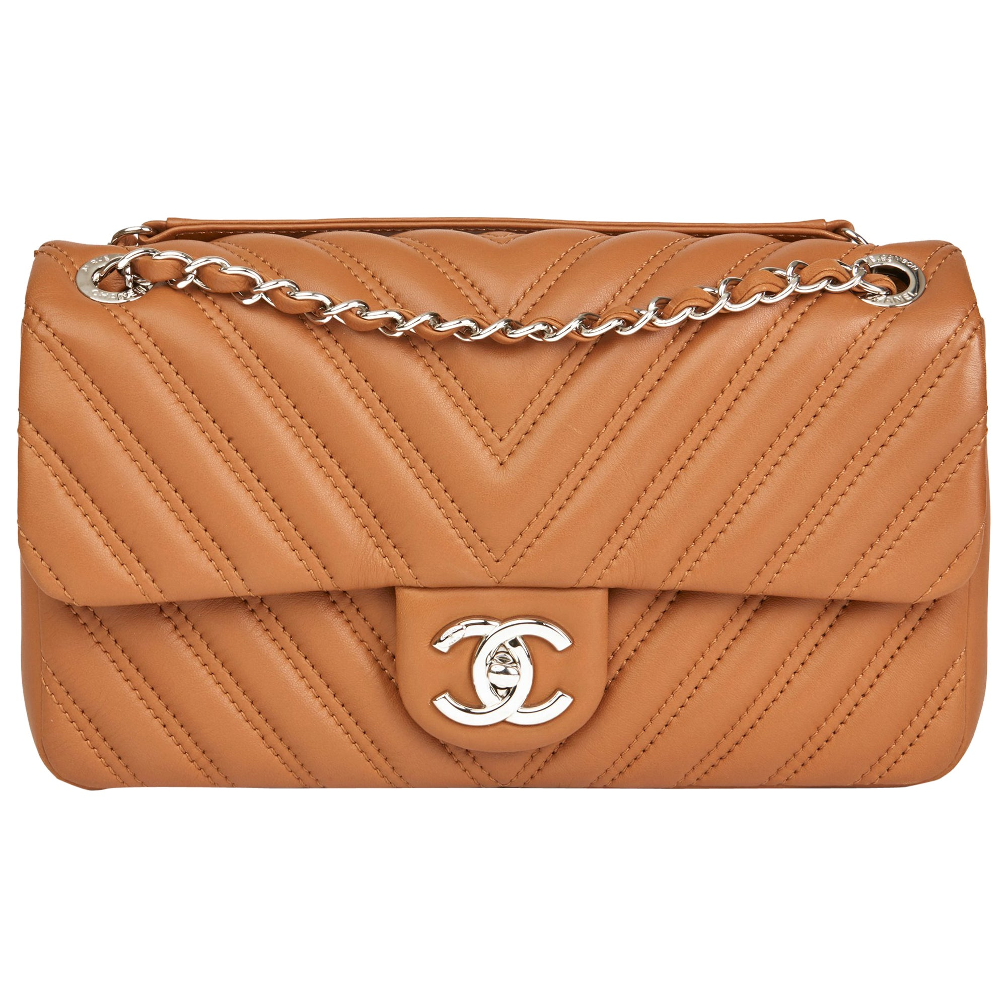 ba5e5d7328fe Chanel Toffee Chevron Quilted Lambskin Classic Single Flap Bag at 1stdibs