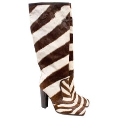 Dolce & Gabbana Zebra Print Knee High Boots US 9