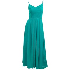 Beautiful 1970s Current Size 8 / 10 Teal Blue Aqua Silk Chiffon Couture 70s Gown