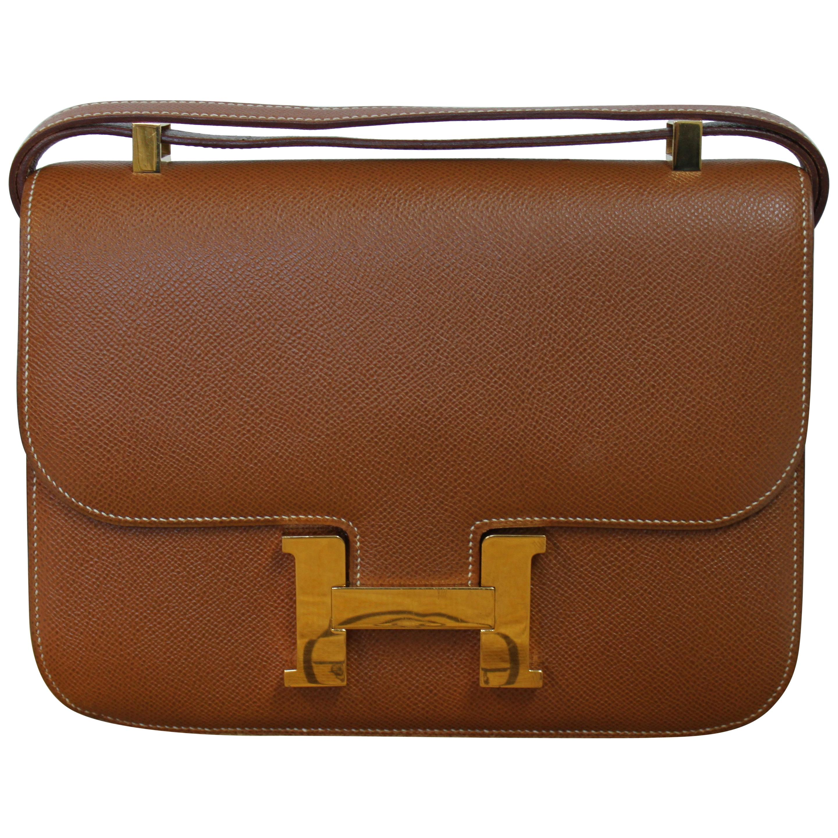 b421ed0b4926 Hermes Constance 24 Shoulder Bag brown tan epsom leather with gold .