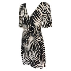 Black ivory print silk jersey wrap dress NWT Flora Kung - sizes