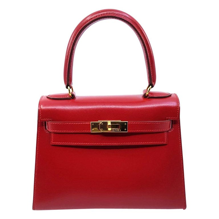 Hermès Vintage Mini Kelly Sellier Bag Red Box Leather Ghw 20 cm For Sale 5