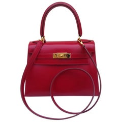Hermès Vintage Mini Kelly Sellier Bag Red Box Leather Ghw 20 cm