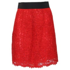 Dolce & Gabbana Red Lace Skirt IT 38