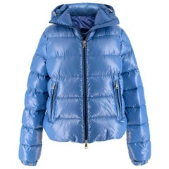 Moncler pearl-blue hooded down coat US 4