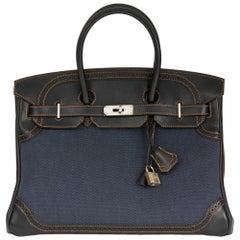 2012 Hermes Black Evercalf Leather & Blue Denim Toile Ghillies Birkin 35cm