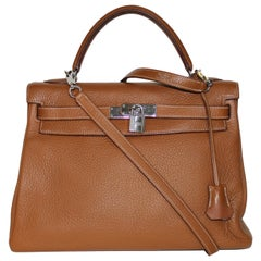Hermes Kelly 32 Bag brown leather epsom/tan with silver Hardware Tote/Crossbody