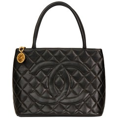 1998 Chanel Black Quilted Caviar Leather Vintage Medallion Tote