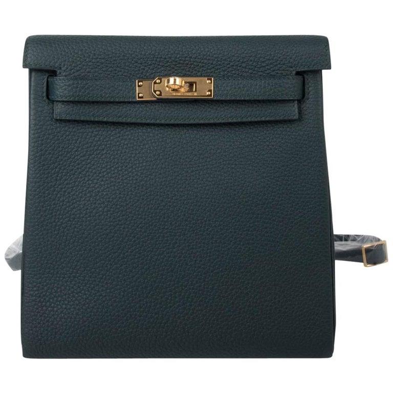 Hermes Kelly Ado II Backpack Vert Cypress Gold Hardware New For Sale