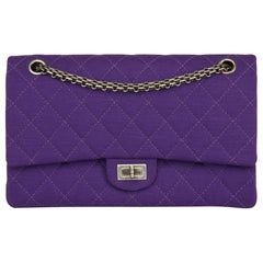 2009 Chanel Purple Quilted Jersey Fabric 2.55 Reissue 226 Double Flap Bag