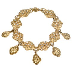 Chanel Gold Rhinestone and Collar Necklace Early 1980s